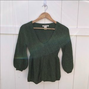 Forever 21 green knitted half buttons down top S